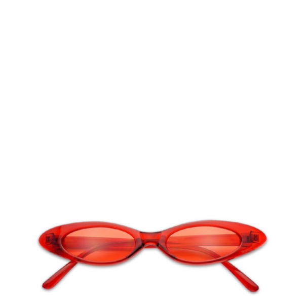 Vintage Oval Cat-Eye Sunglasses in Red