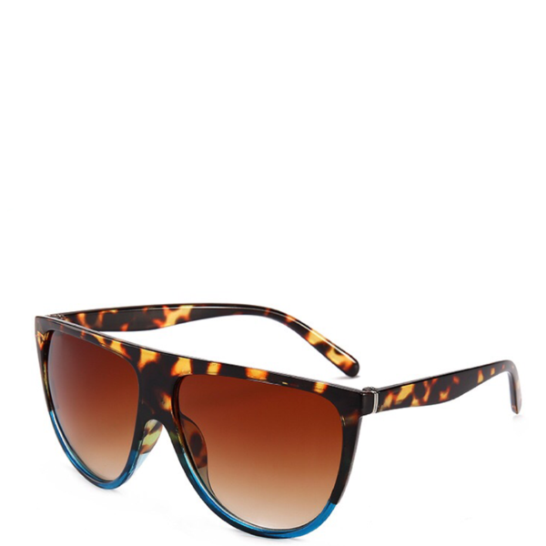 Solaris | Flat-Top Aviator Sunglasses in Brown x Blue