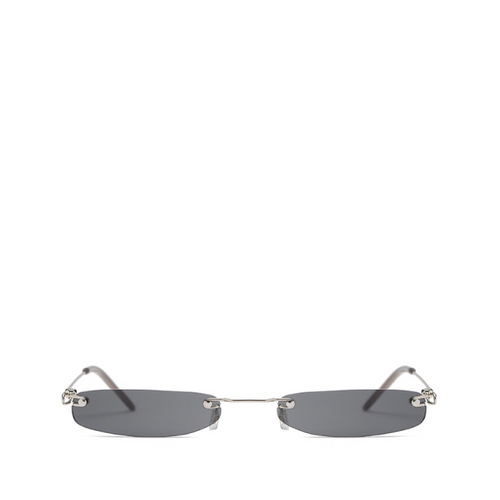 Skinny Rimless Rectangle Sunglasses | Silver x Black
