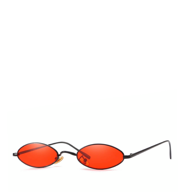 Davinci | Classic Small Oval Retro Sunglasses in Red