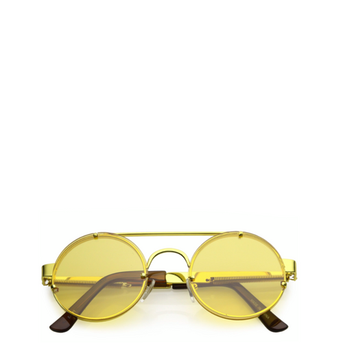Maddox | Retro Metal-Framed Steampunk Sunglasses - Gold x Yellow