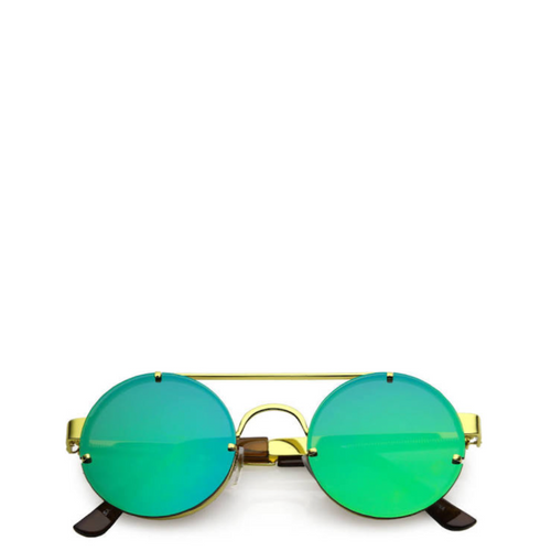 Maddox | Retro Metal-Framed Steampunk Sunglasses - Gold x Blue