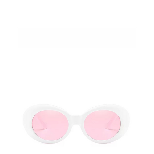 Clout Mod Goggle Sunglasses in White x Pink