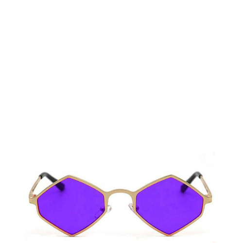 Sway | Retro Geometric Hexagon-Diamond Sunglasses in Gold x Purple