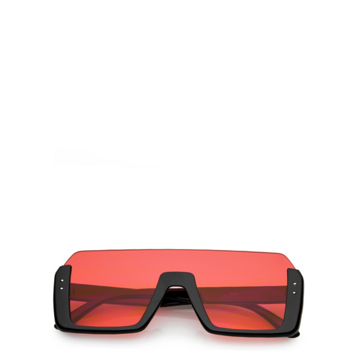 Jupiter | Rectangle Semi-Rimless Sunglasses in Red