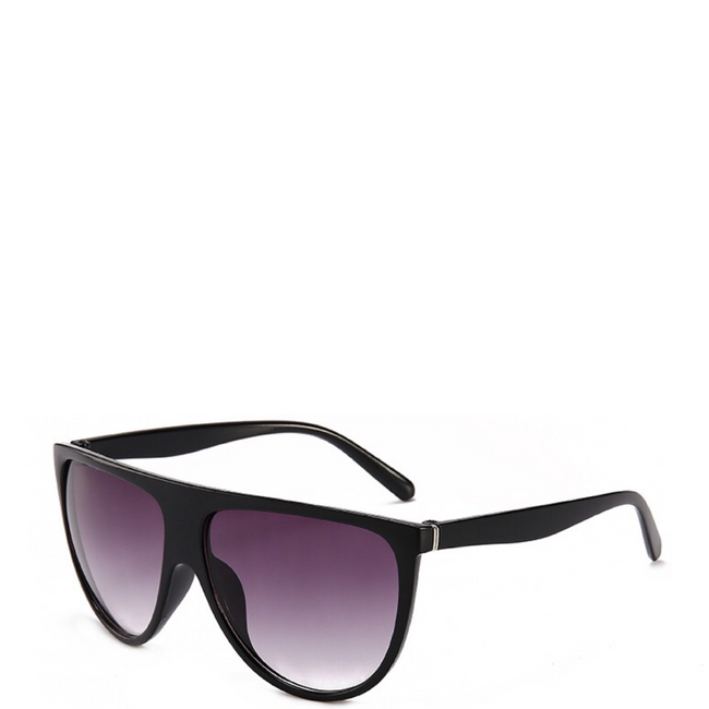 Solaris | Flat-Top Aviator Sunglasses in Black