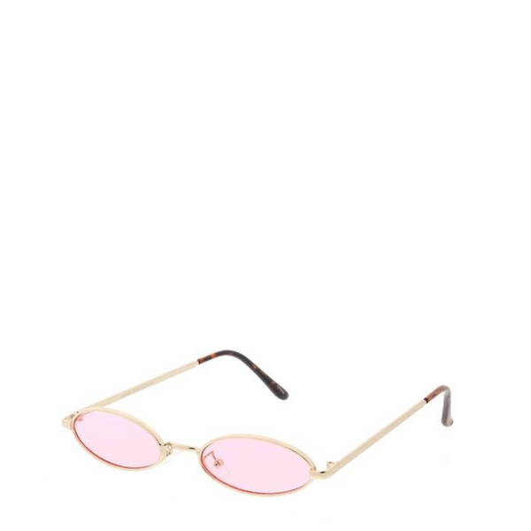 Davinci | Classic Small Oval Retro Sunglasses in Gold x Pink