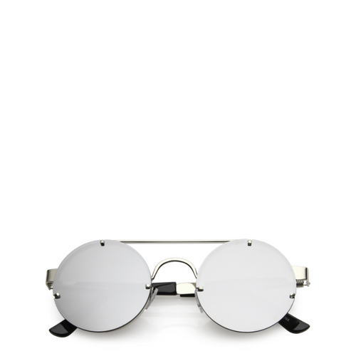 Maddox | Retro Metal-Framed Steampunk Sunglasses - Silver