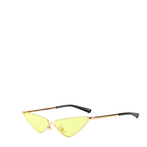 Mickey | Slender Edgy Cat-Eye Sunglasses in Gold x Yellow