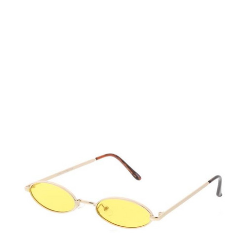 Davinci | Classic Small Oval Retro Sunglasses in Gold x Yellow