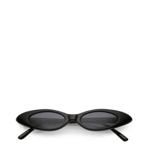 Vintage Oval Cat-Eye Sunglasses in Black