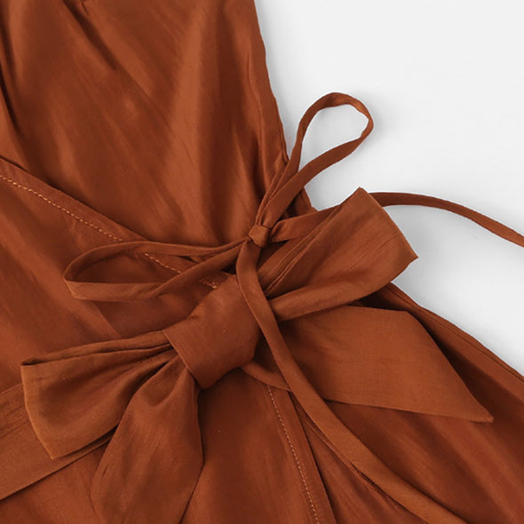 Brown Cami Belted Romper