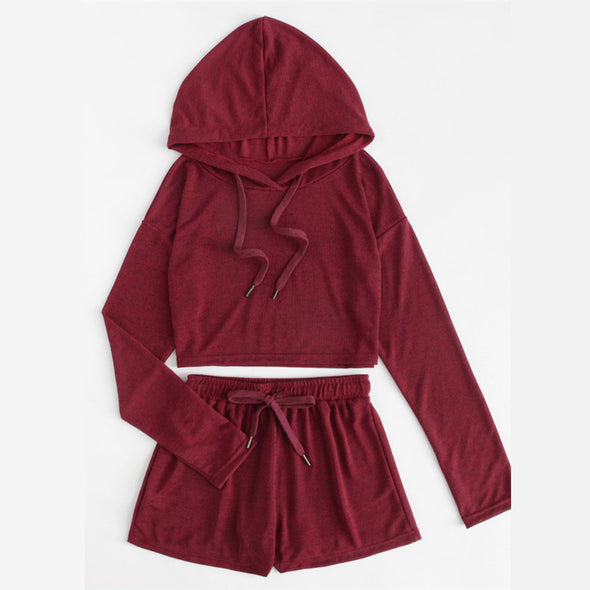 Burgundy Hooded Set
