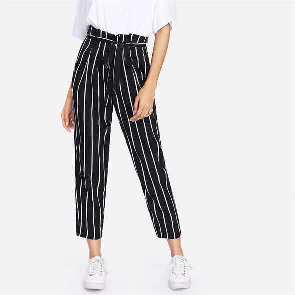 Self Belt Striped Pants High Waist Zipper