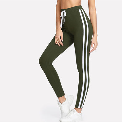 Army Green Tape Side Striped Leggings