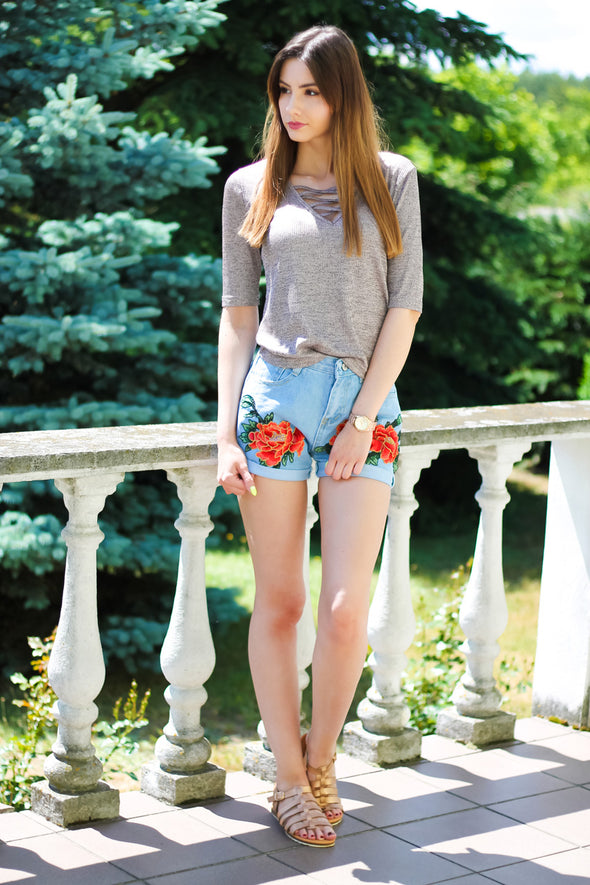 Vintage Blue Floral Denim Shorts