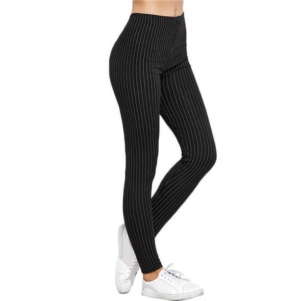 Vertical Striped High-Waist Leggings