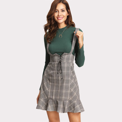 Front Ruffle Hem High-Waist Plaid Skirt