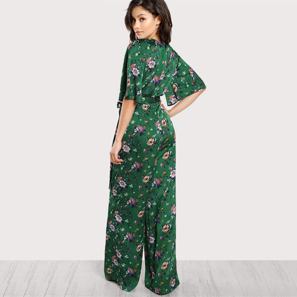 Green Floral Deep V Neck Jumpsuit