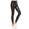 Black High-Waist Plain Leather Leggings