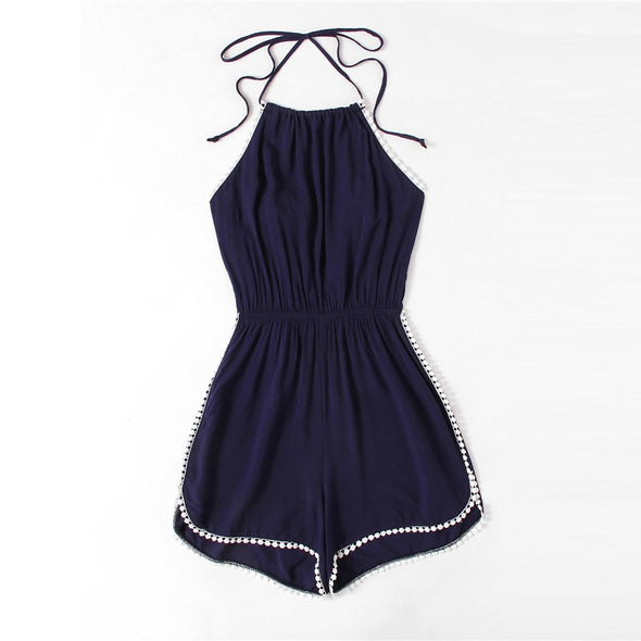 Blue Halter Neck Lace Trim Romper