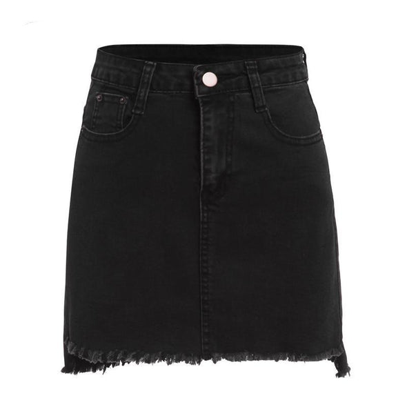 Plain Denim Black Mini Skirt