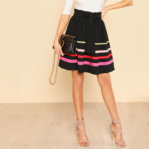 Frilled Waist Striped Flare Mid-Waist Skirt