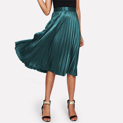 Satin Green Mid-Waist Skirt