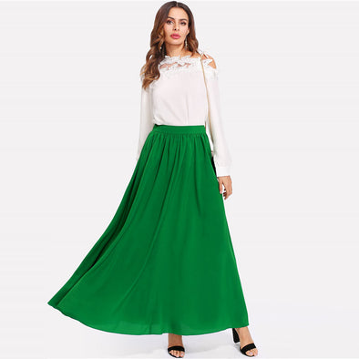 Green Mid-Waist Maxi Skirt