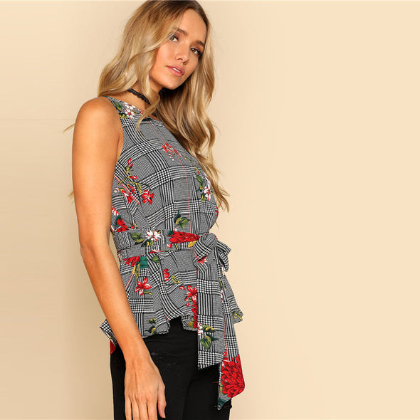 Grey Self-Belted Floral Top