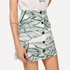 Jungle Leaf Print Button Up High-Waist Skirt