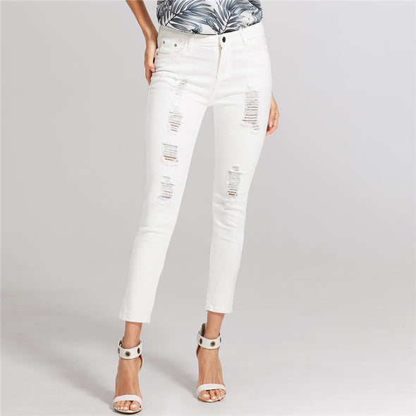 White Ripped Mid-Waist Skinny Jeans