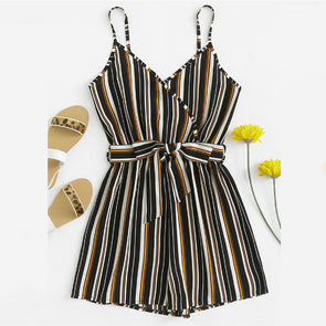Self Tie Waist Striped Cami Romper