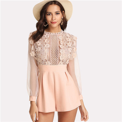 Pink Pastel Floral Lace Rompers