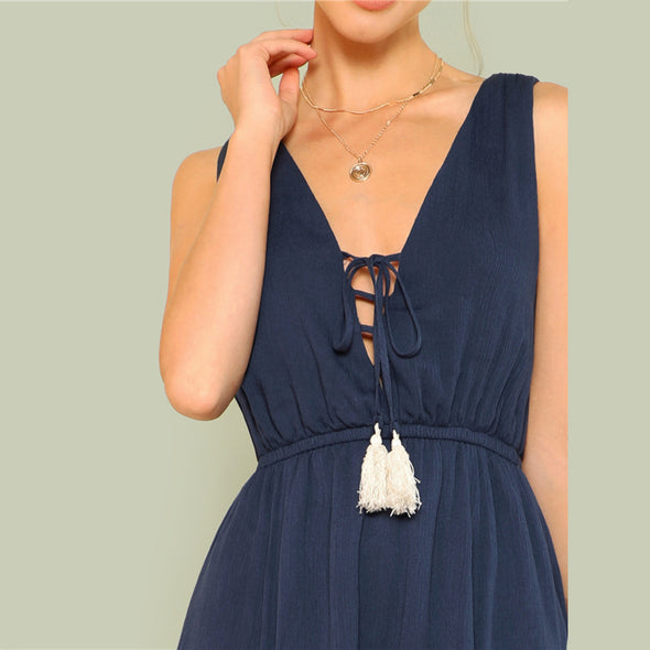 Tassel Plunging Dress