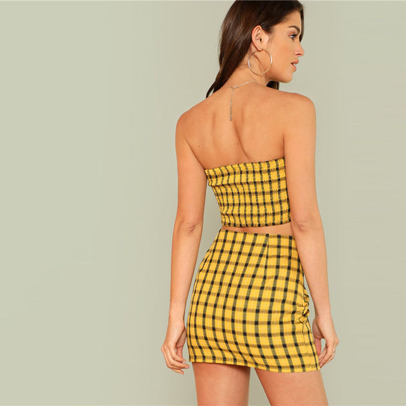 Yellow Plaid Shirred Two Piece Set
