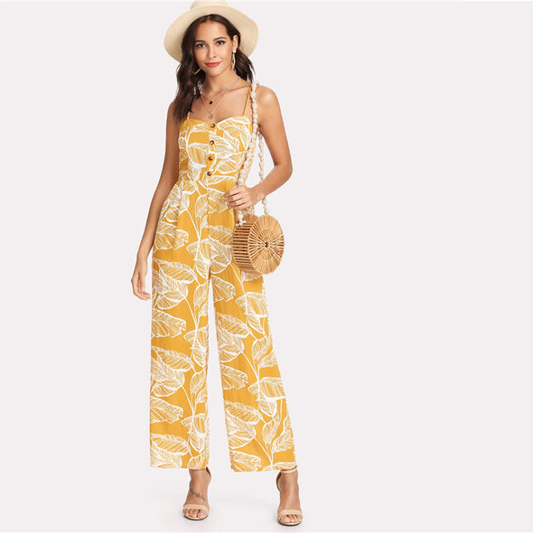 Tropical Palm Leaf Cami Jumpsuit