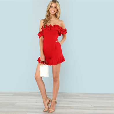 Red Sleeveless Off The Shoulder Romper