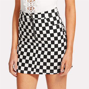 O-Ring Zipper Front Plaid Mid-Waist Skirt