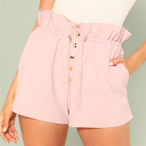 Summer Pink High-Waist Button Up Shorts