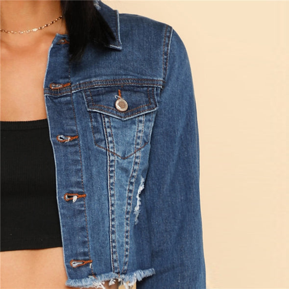 Blue Long Sleeve Casual Denim Crop
