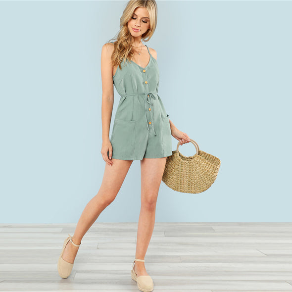 Green Strap V-Neck Sleeveless Cami Romper
