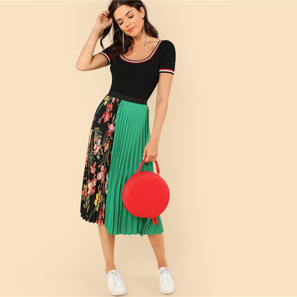 Floral Boho Pleated Mid-Waist Skirt