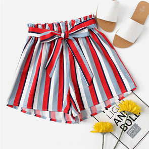 Trim Bow Tie Striped Mid-Waist Casual Shorts