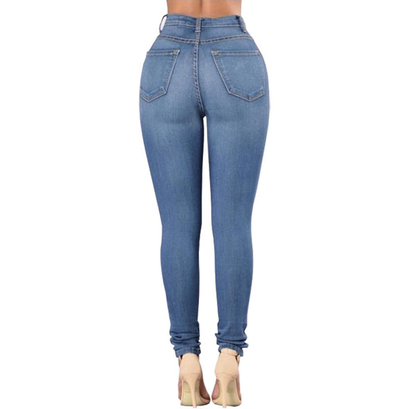 Blue Washed High Waist Jeans
