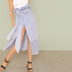 Belted Ruffle High Waist Navy Pinstripe Maxi Skirts