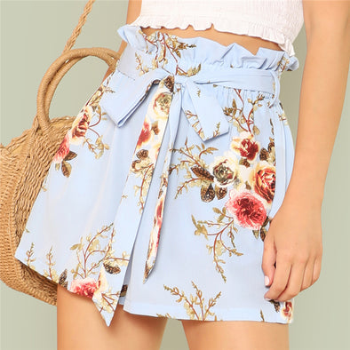 Vacation Floral High-Waist Shorts