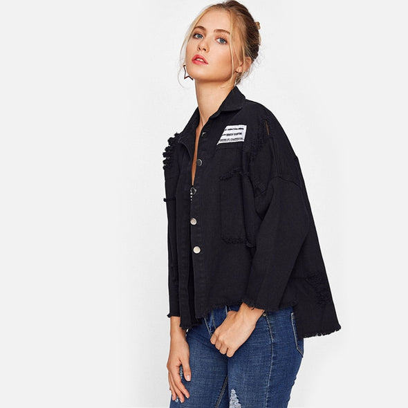 Casual Black Lapel Single Breasted Jacket