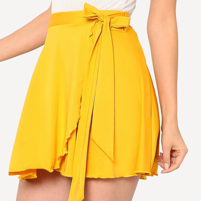 Yellow Mid-Waist Elastic Skirt