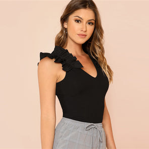 Black Elegant Ruffle Trim